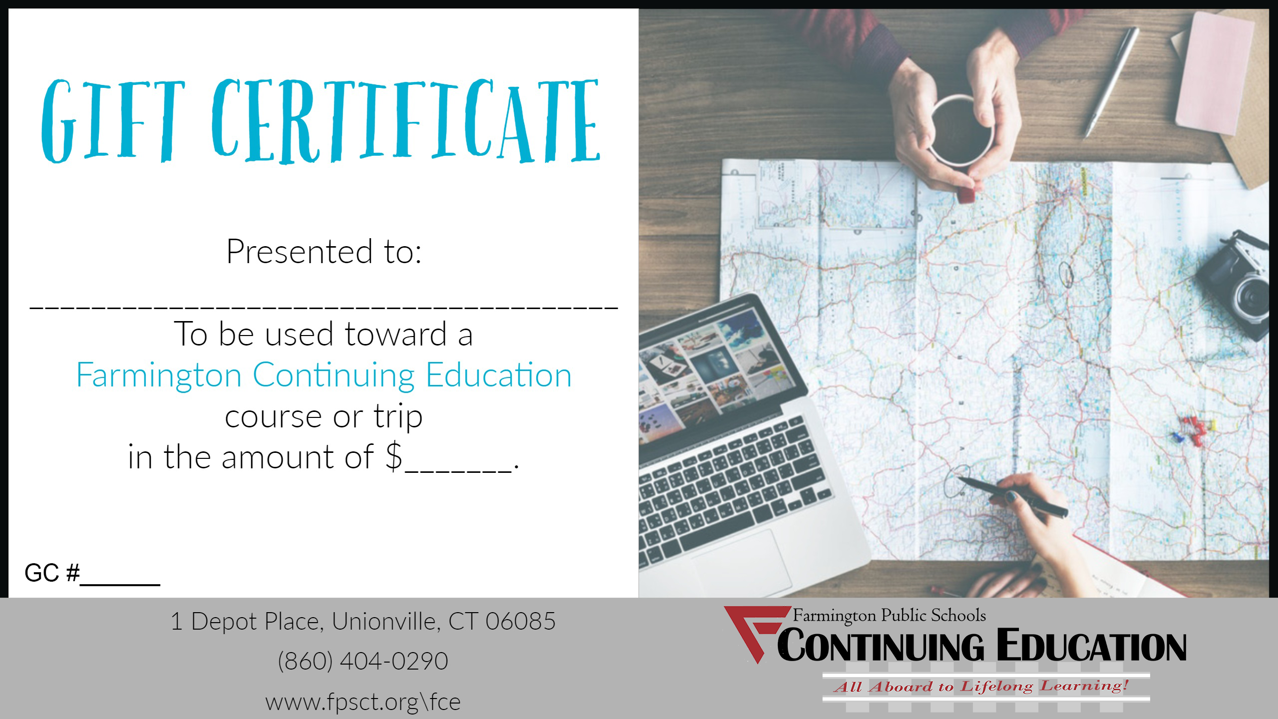 General education development ged farmington public schools gift certificates can be used to enjoy an adult or youth course focusing on an interest or hobby professional development opportunities xflitez Choice Image